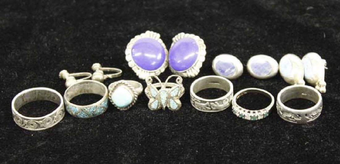 Collection of 11 Sterling Silver Pieces of Jewelry