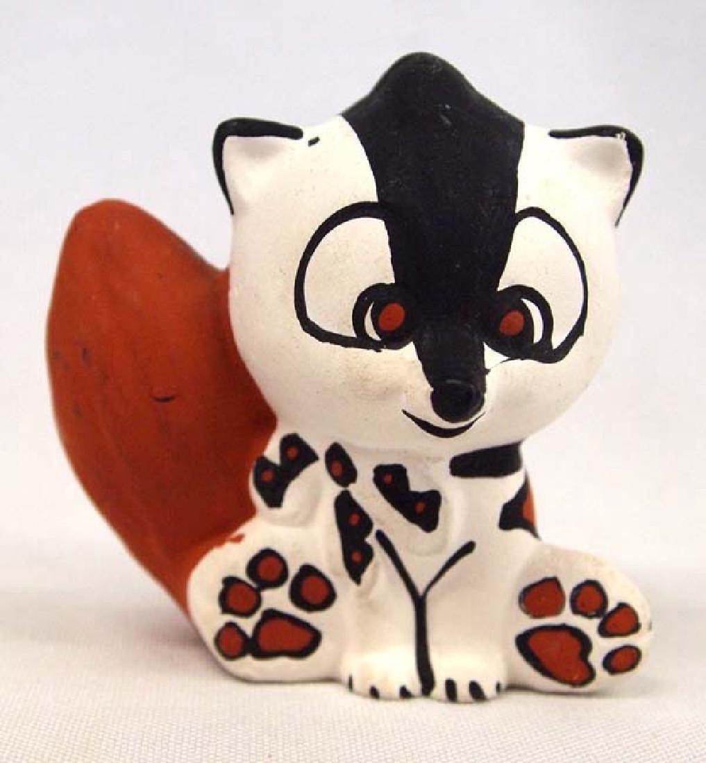 Isleta Hand Painted Ceramic Pottery Skunk, Olguin