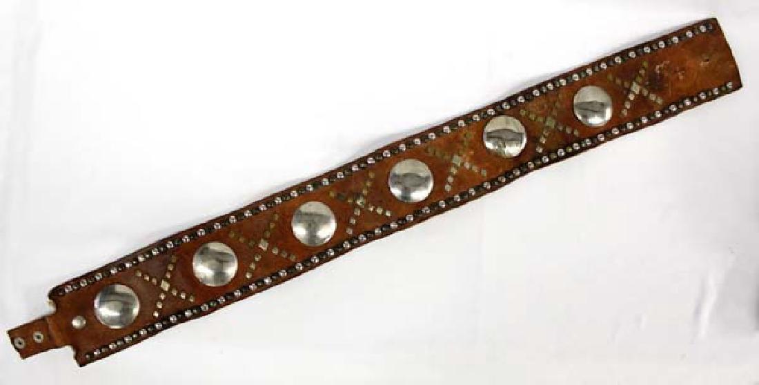 Plains Indian Leather Belt Embellished with Conchos