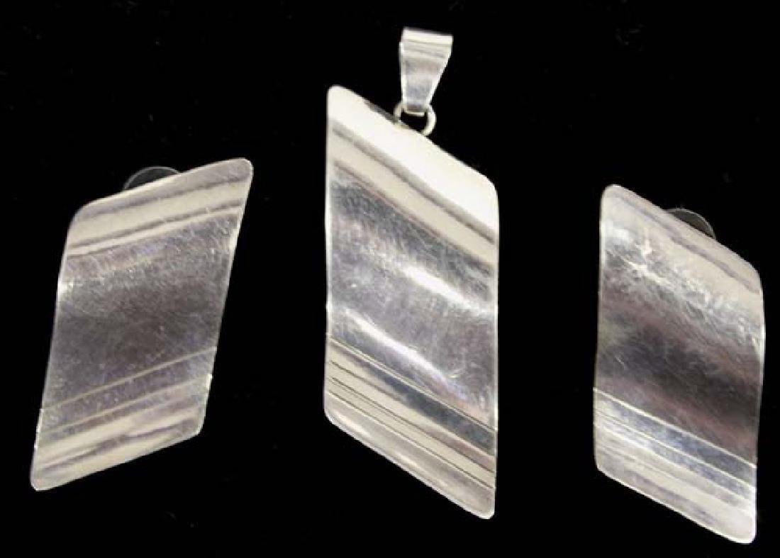 Navajo Sterling Silver Pendant & Earrings by Nez