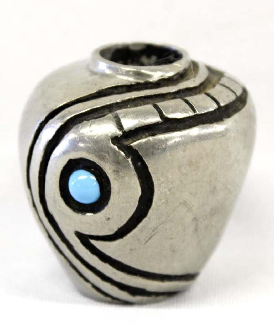 Nambe Miniature Turquoise Jar by Fred Ortiz