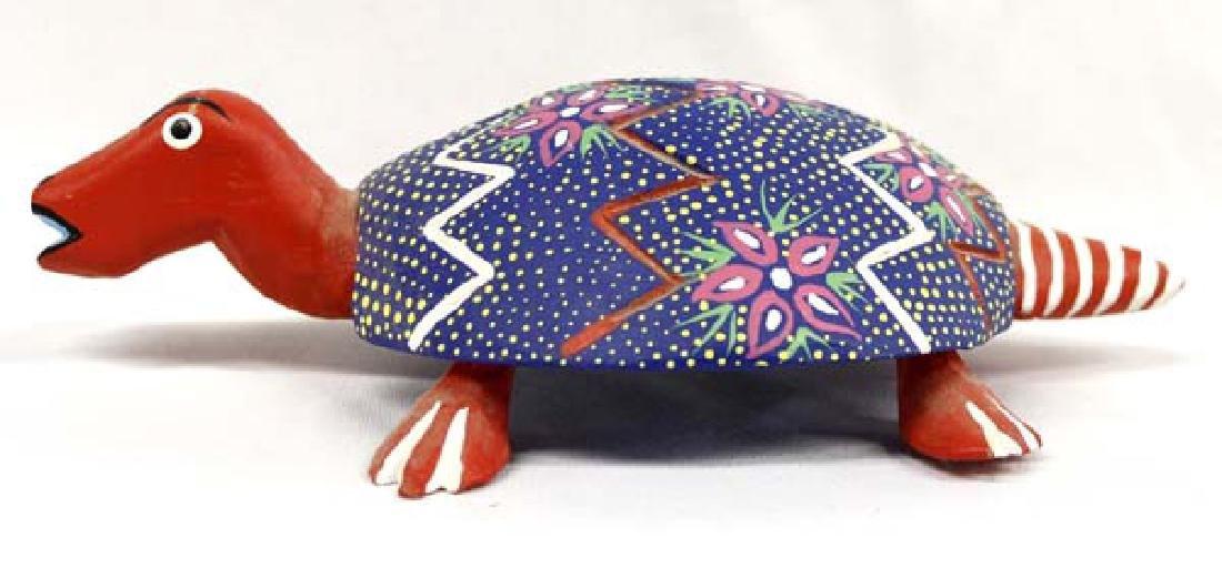 Mexican Oaxacan Carved Wood Alebrije Turtle, Ojeda