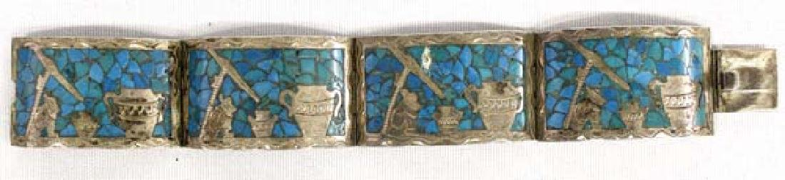 Mexican Sterling & Chip Inlay Turquoise Bracelet
