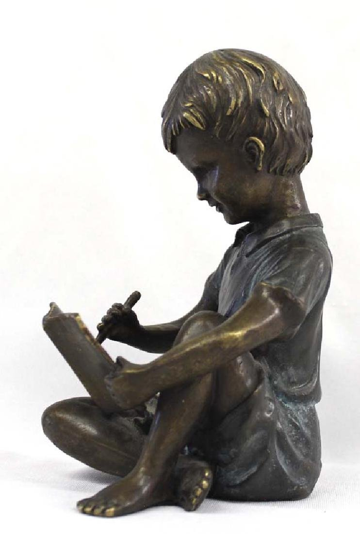 Solid Bronze Statue of Boy Writing in Book