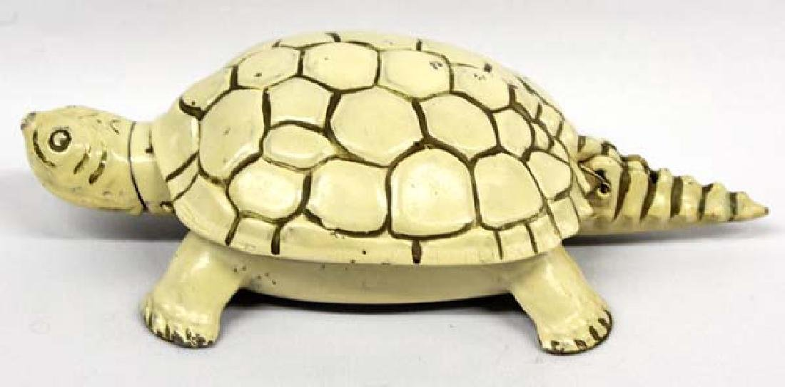 1950s Cast Aluminum Flip Top Turtle Ashtray