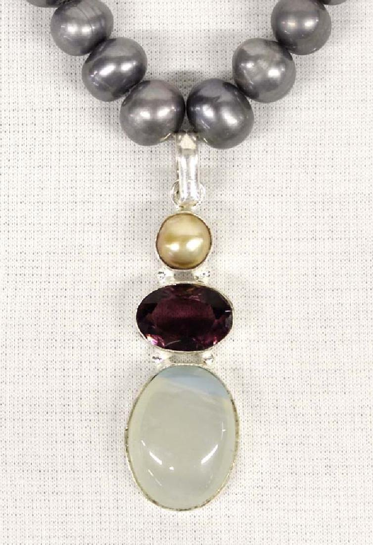 Sterling Silver and Gray Pearl Pendant Necklace