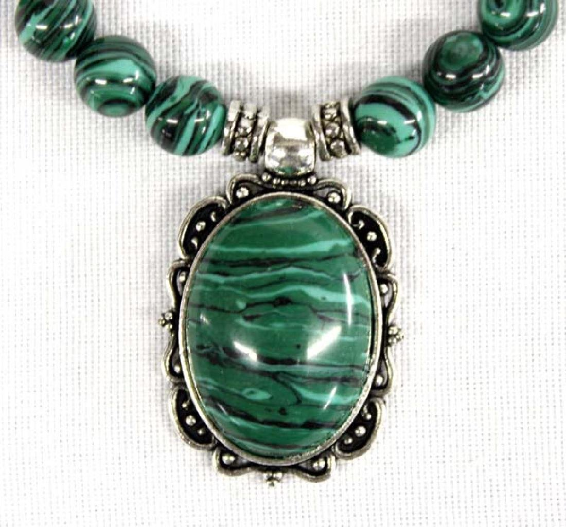 Beautiful Banded Malachite Bead Pendant Necklace