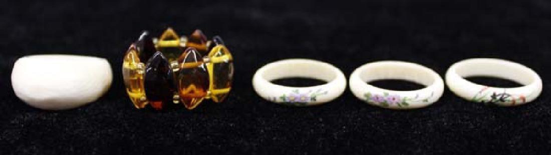 Bone and Amber Rings