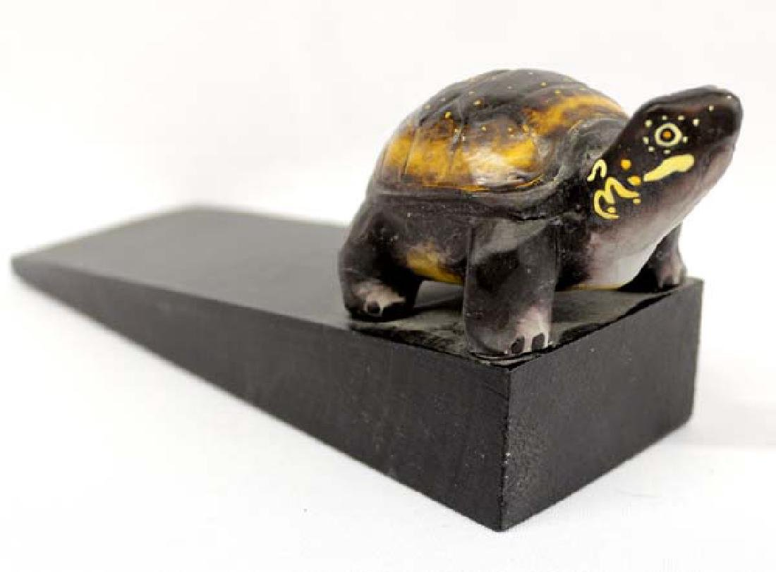 Hand Crafted Carved Wood Turtle Doorstop