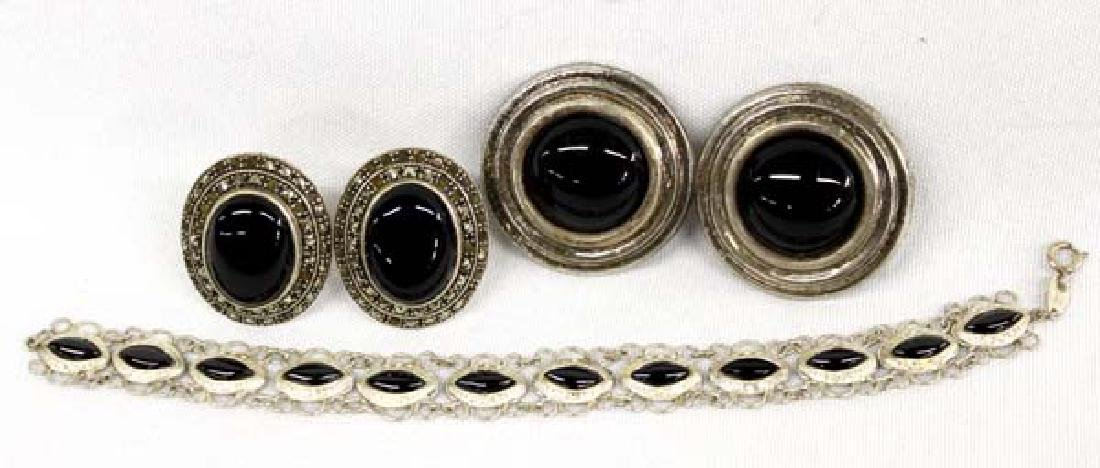 Collection of Sterling and Onyx Jewelry