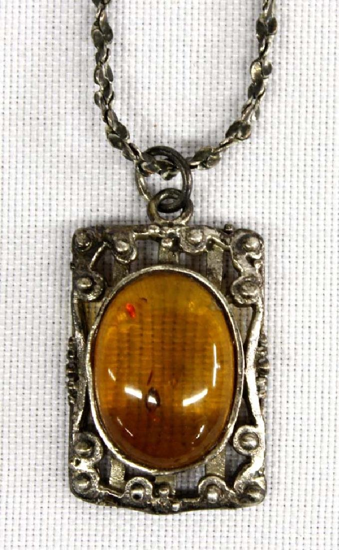 Sterling Silver and Amber Pendant Necklace