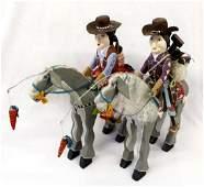 2 Navajo Whimsical Folk Art Horses by Delbert Buck