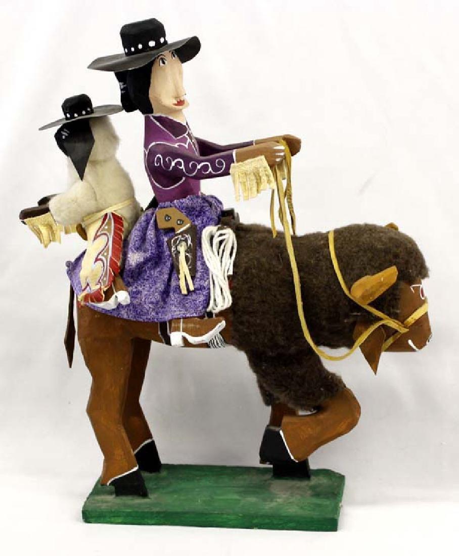 Large Navajo Delbert Buck Folk Art Buffalo & Rider