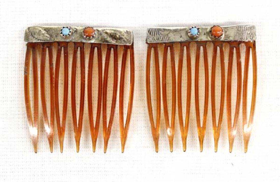 Pair 1950 Navajo Silver Coral Turquoise Hair Combs