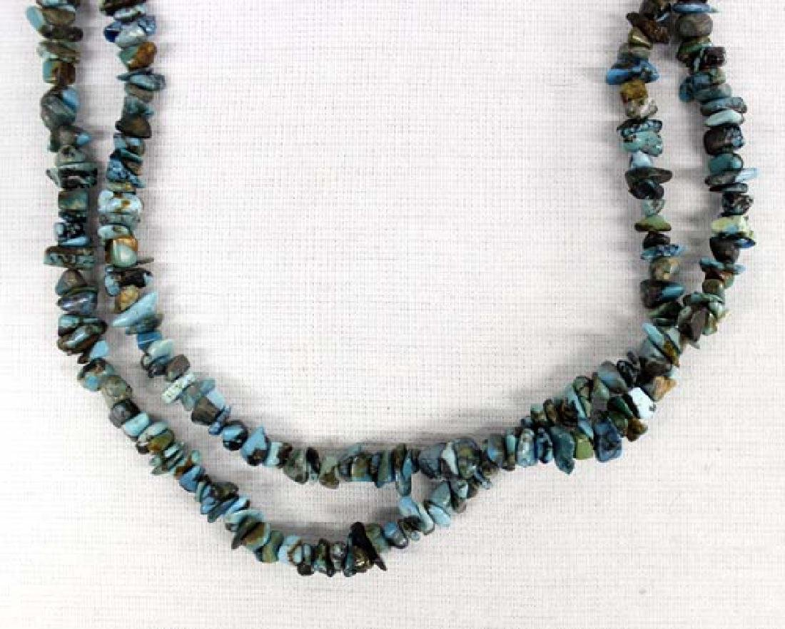 Navajo Double Strand Turquoise Sterling  Necklace