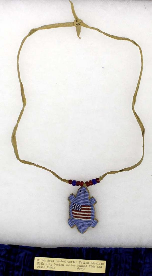 Sioux Patriotic Beaded Turtle Fetish Necklace