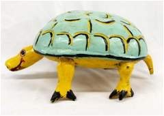 Large Mexican Carved Wood Folk Art Turtle