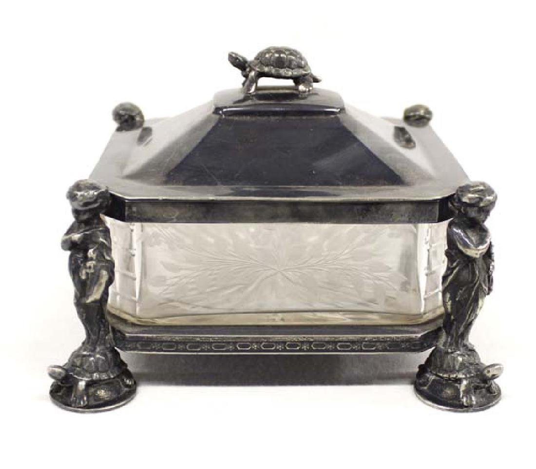 Antique Silver Plate Etched Glass Candy Dish