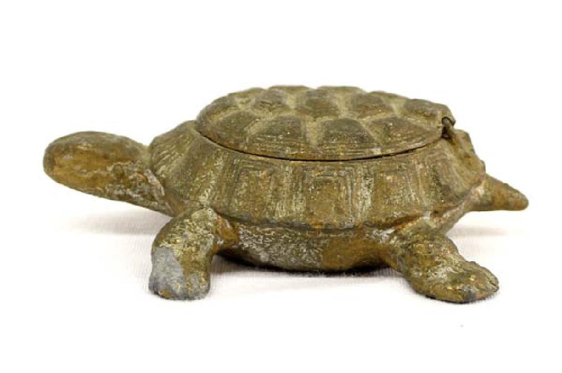Estate Cast Iron Lidded Turtle Trinket Box