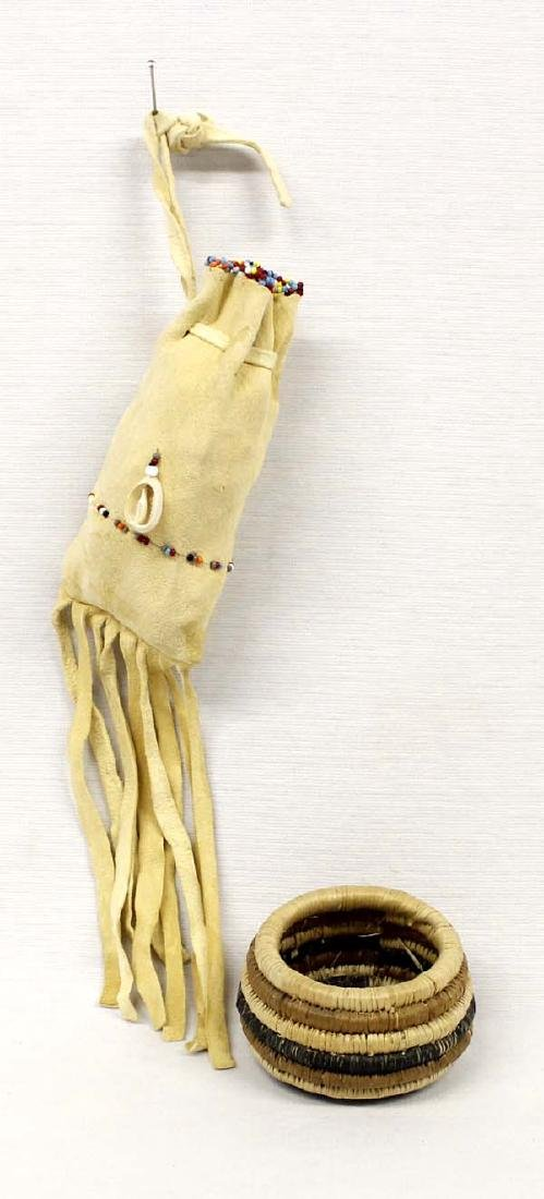 Native American Beaded Pouch and Basket