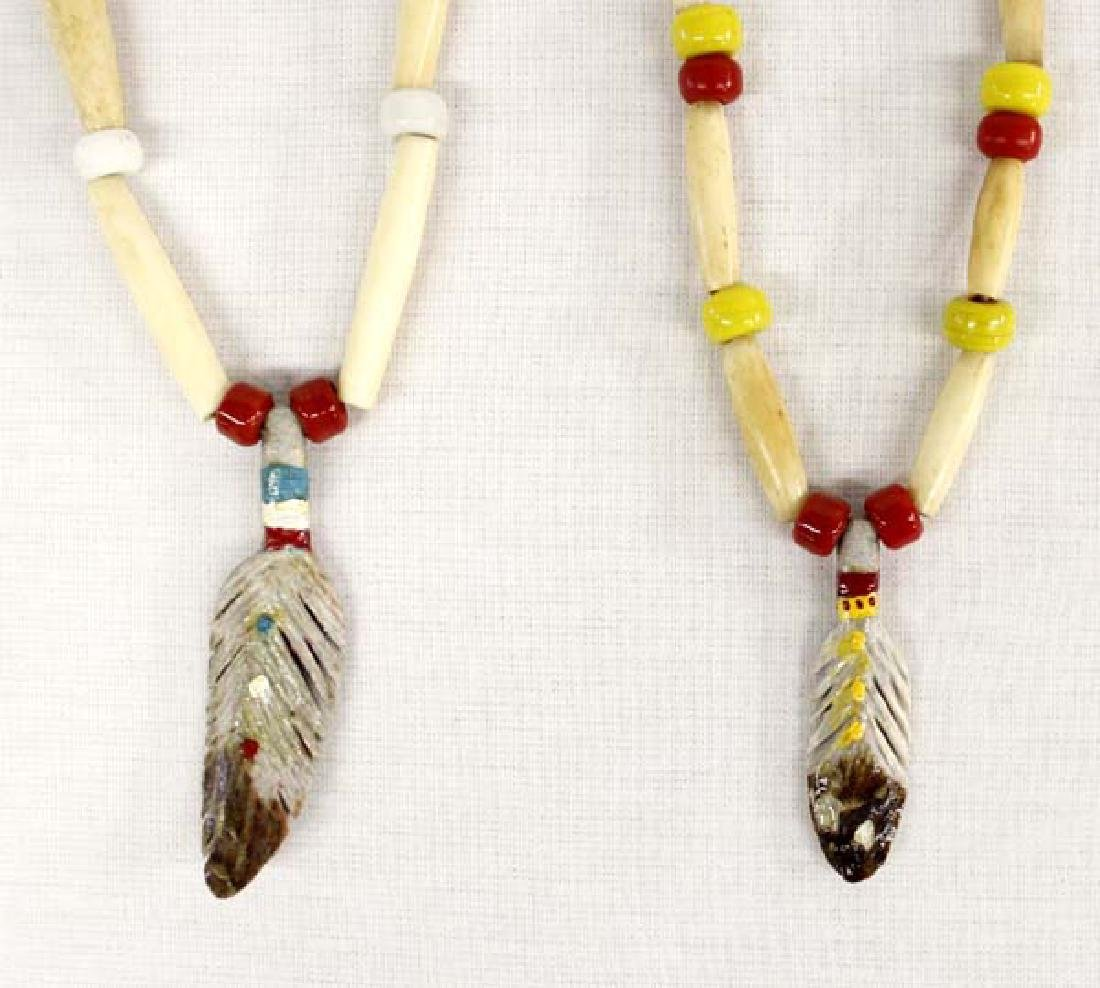 Native American Carved Antler Feather Necklace