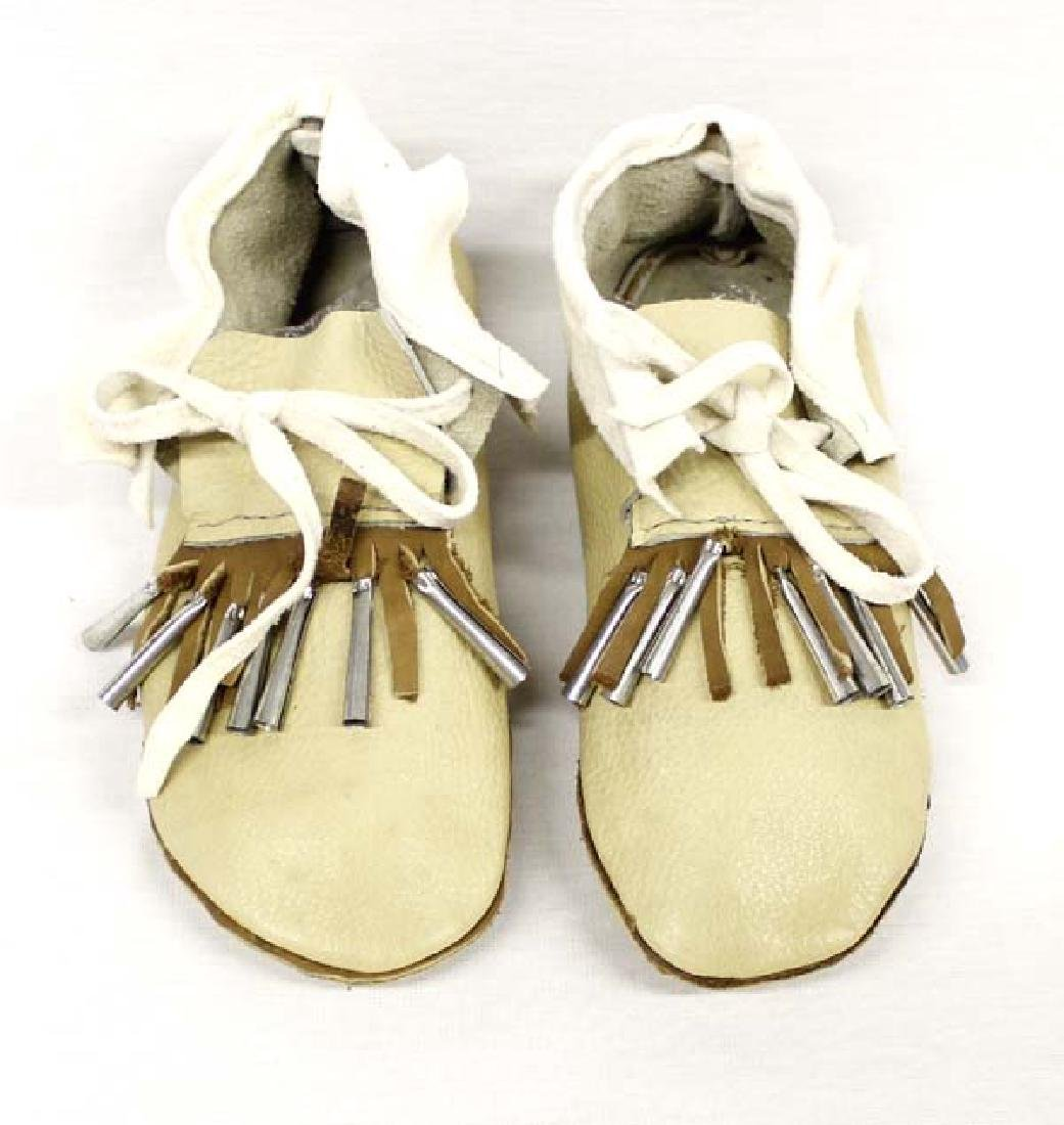 Northern Ute Leather & Tin Jingle Childs Moccasins
