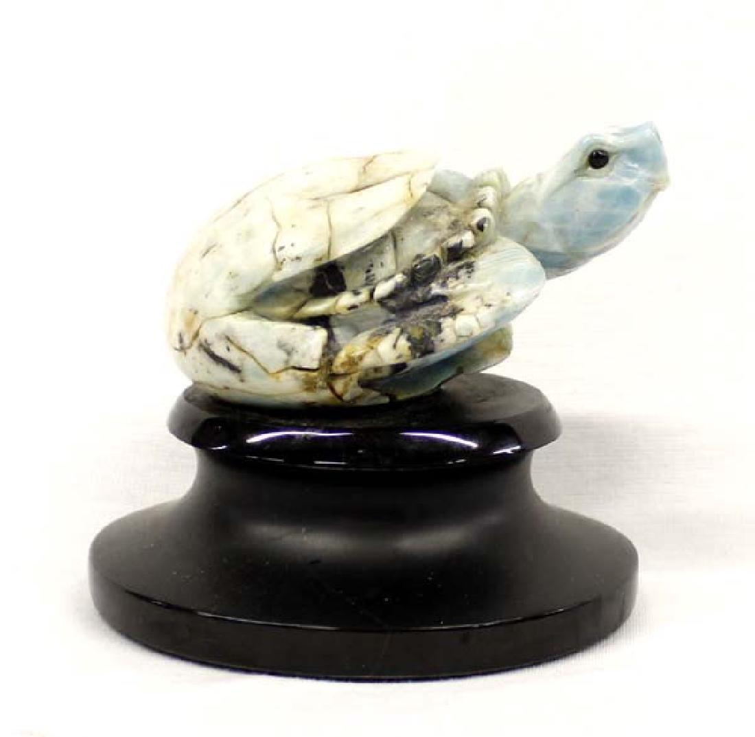 Carved Blue Quartz Hatchling Sea Turtle on Base