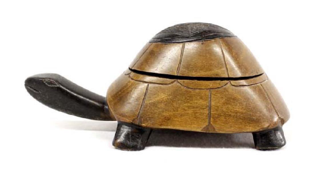 Rare African Carved Muninga Wood Turtle Box