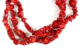 3 Strand Deep Red Coral Choker Necklace