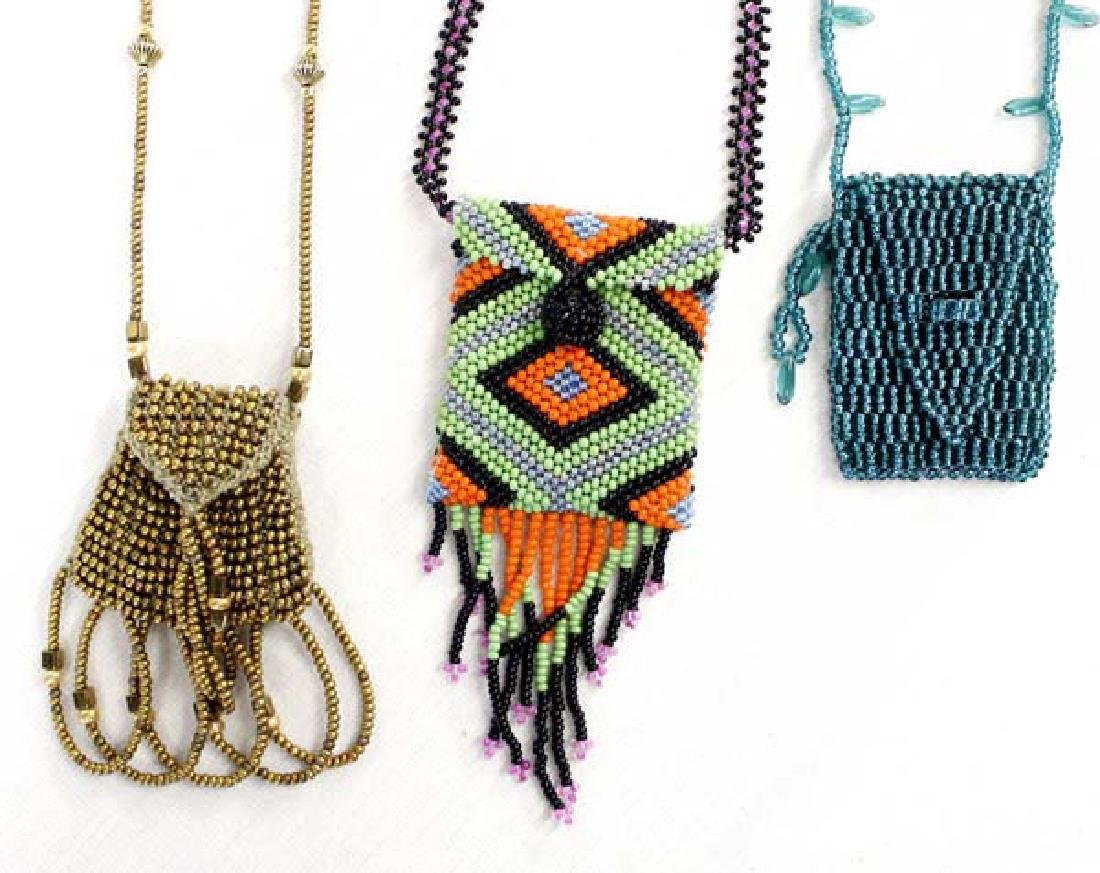 3 Estate Sioux Beaded Fetish Bag Necklaces