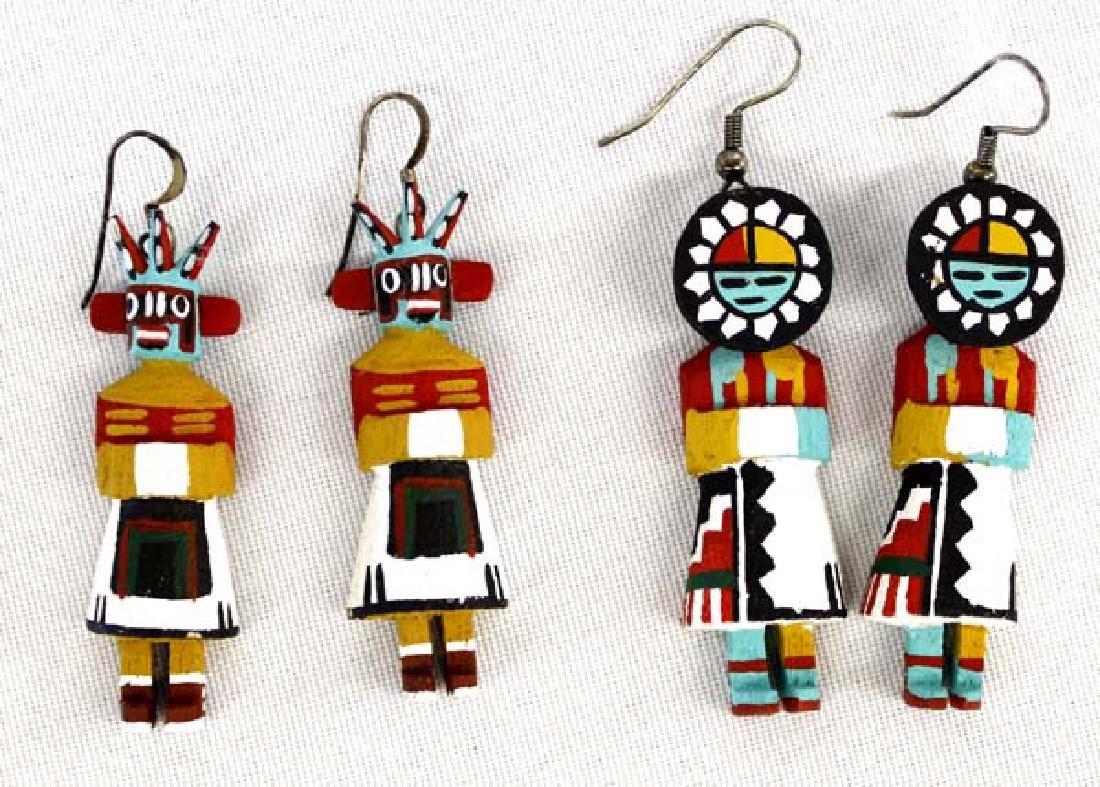2 Pair of Hopi Kachina Earrings by L. Martin