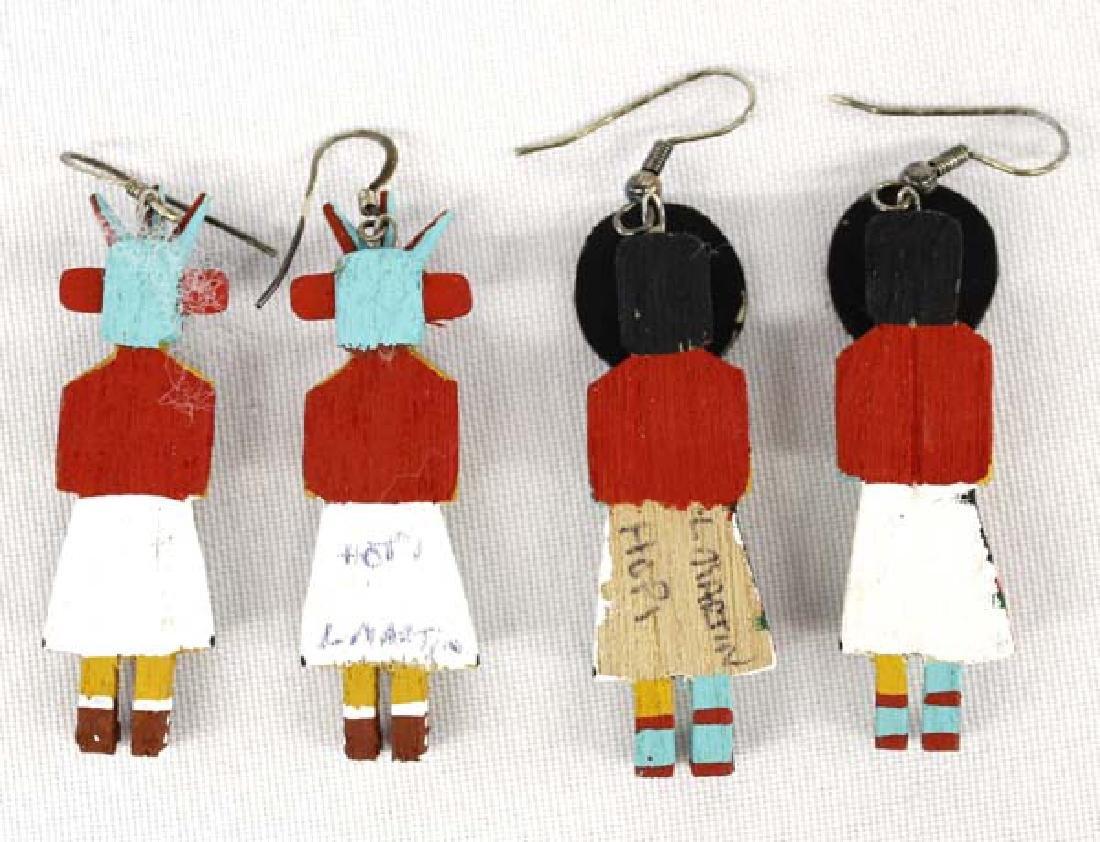 2 Pair of Hopi Kachina Earrings by L. Martin - 2