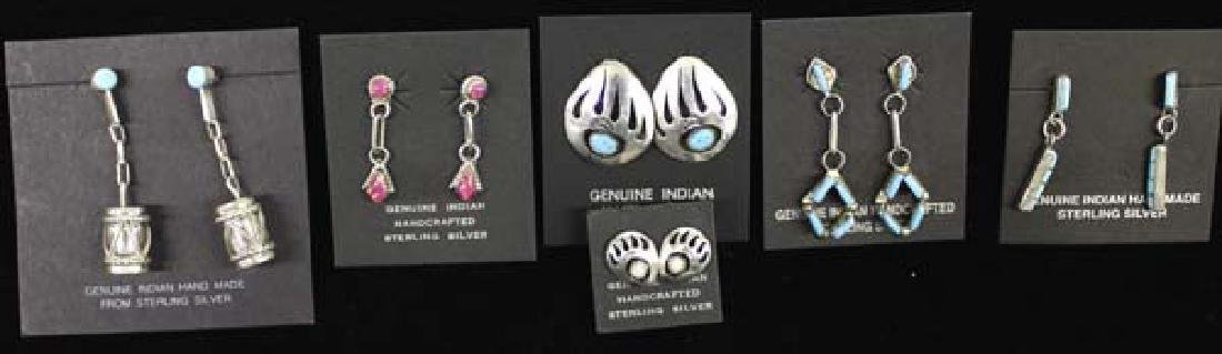 6 Pairs of Navajo and Zuni Sterling Earrings