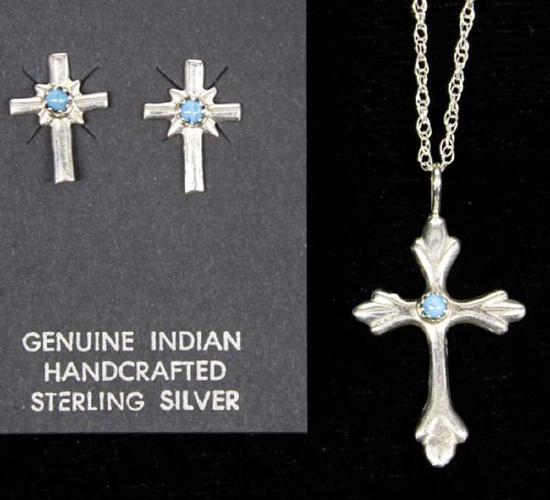 Navajo Silver Turquoise Cross Necklace & Earrings