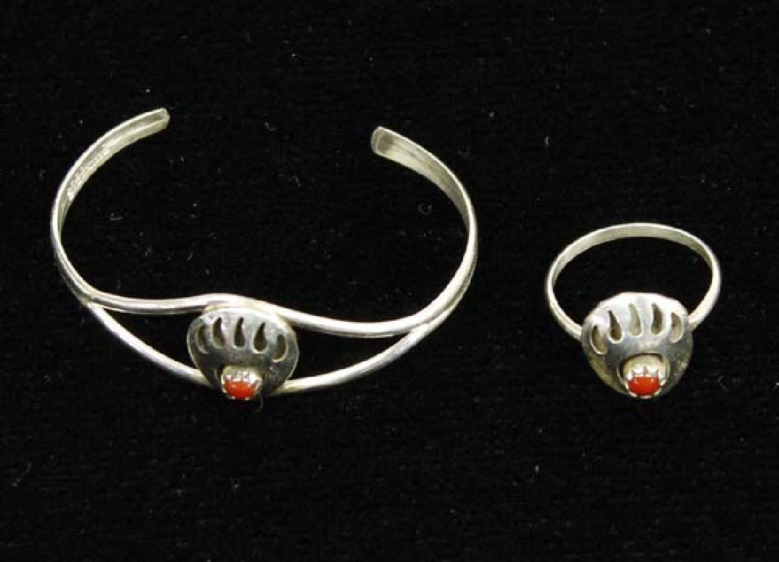Navajo Sterling Coral Child's Bracelet and Ring
