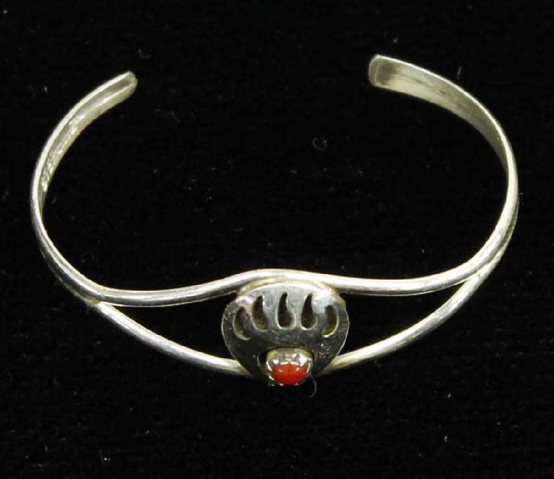 Navajo Sterling Coral Child's Bracelet and Ring - 2