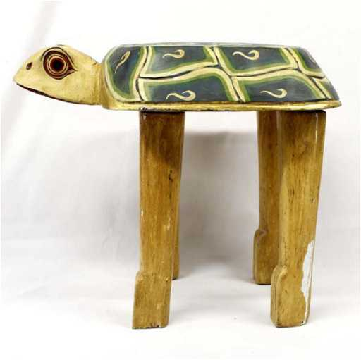 Indonesian Carved Wood Turtle Table