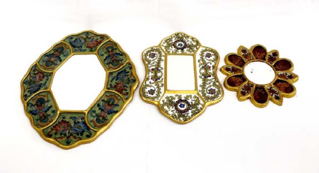 3 Vintage Peruvian Reverse Glass Painted Mirrors