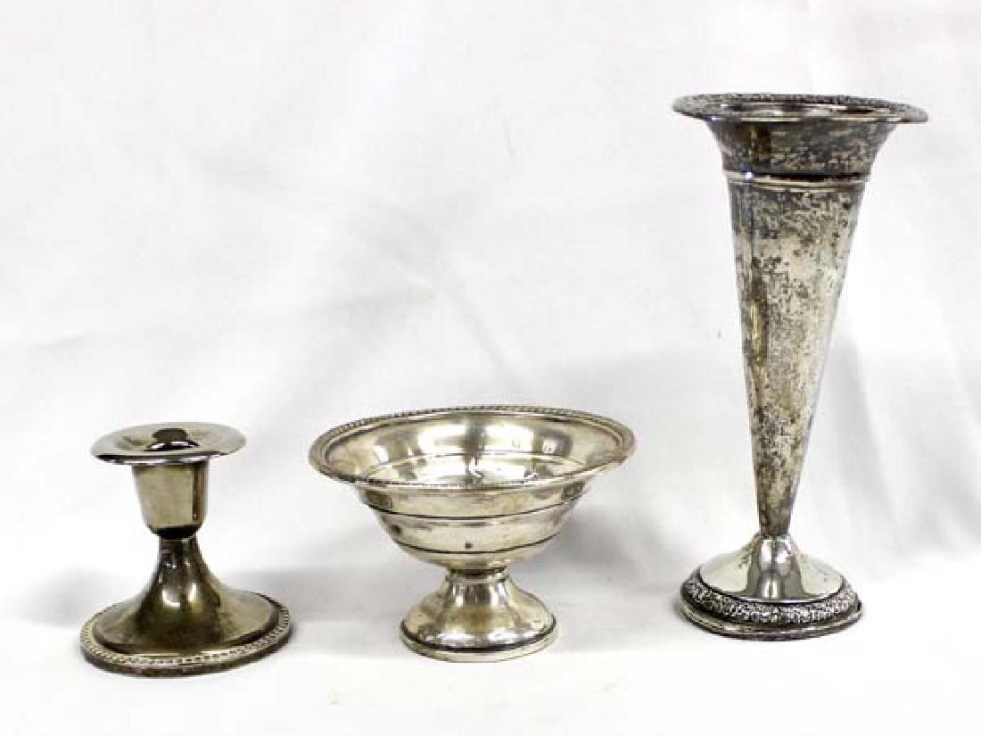 3 Antique Estate  Silver Vase, Dish & Candle Holder