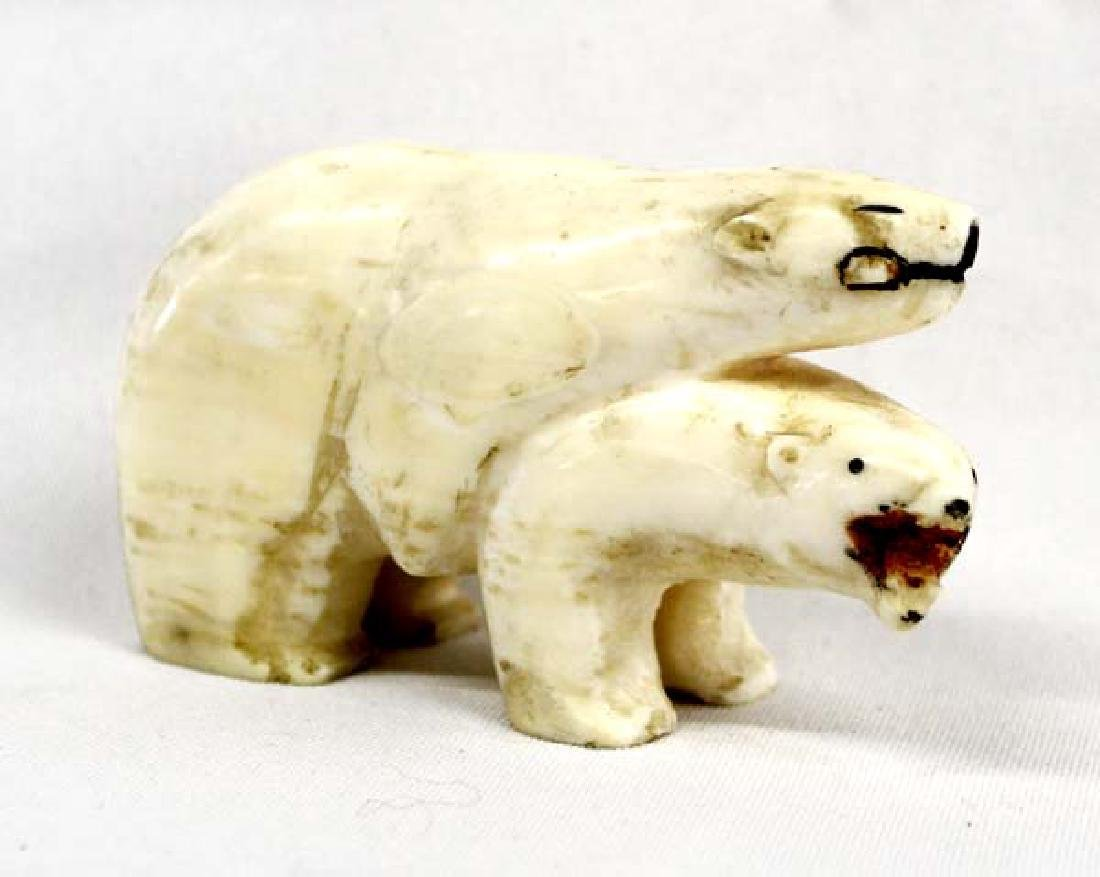 Northwest Coast Carved Bone Polar Bears