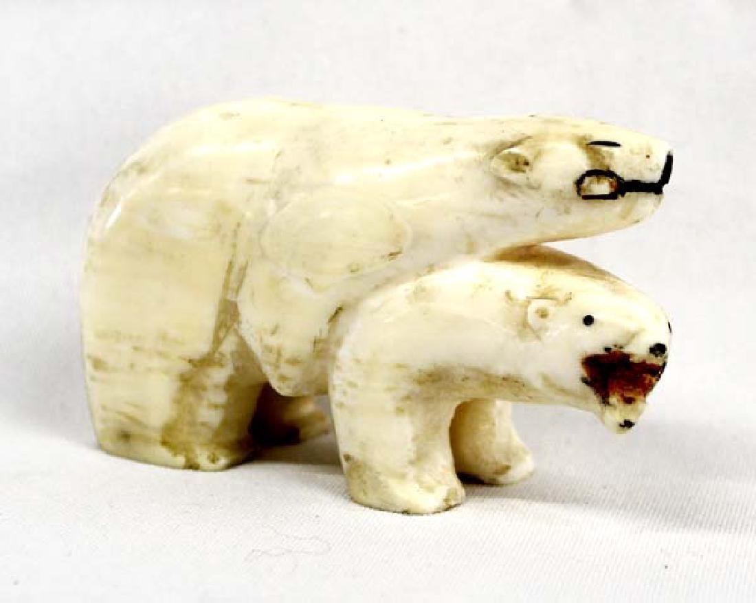 Northwest Coast Carved Bone Polar Bears