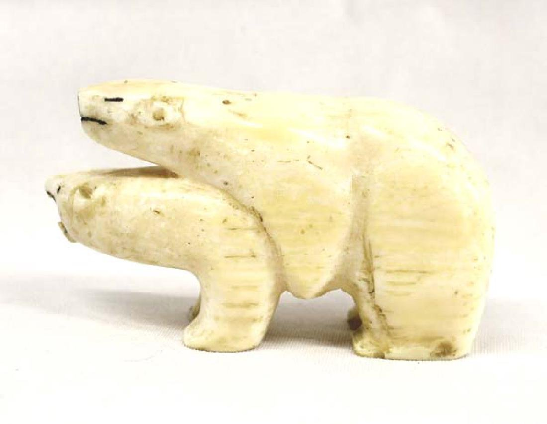 Northwest Coast Carved Bone Polar Bears - 2
