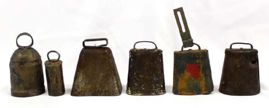6 Antique Estate Cow Bells, Some Copper