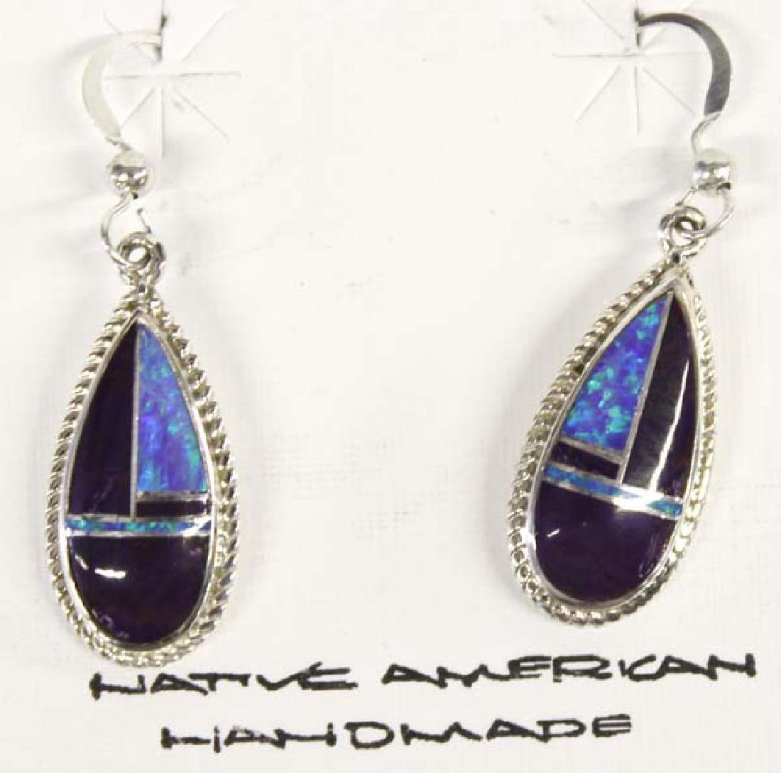 Navajo Sterling  Sugilite & Opal Earrings
