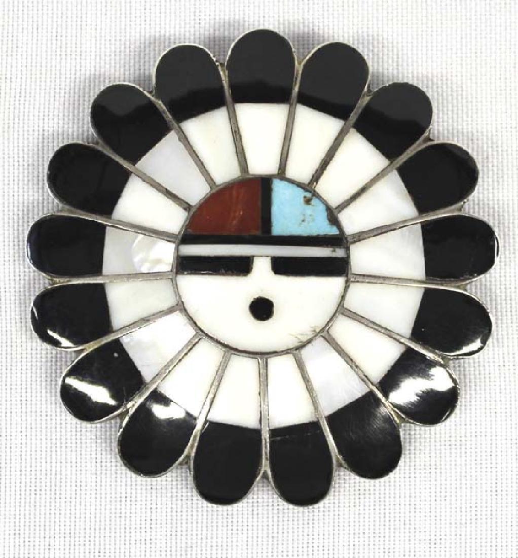 Vintage Zuni Silver Inlay Sun God Pin Pendant