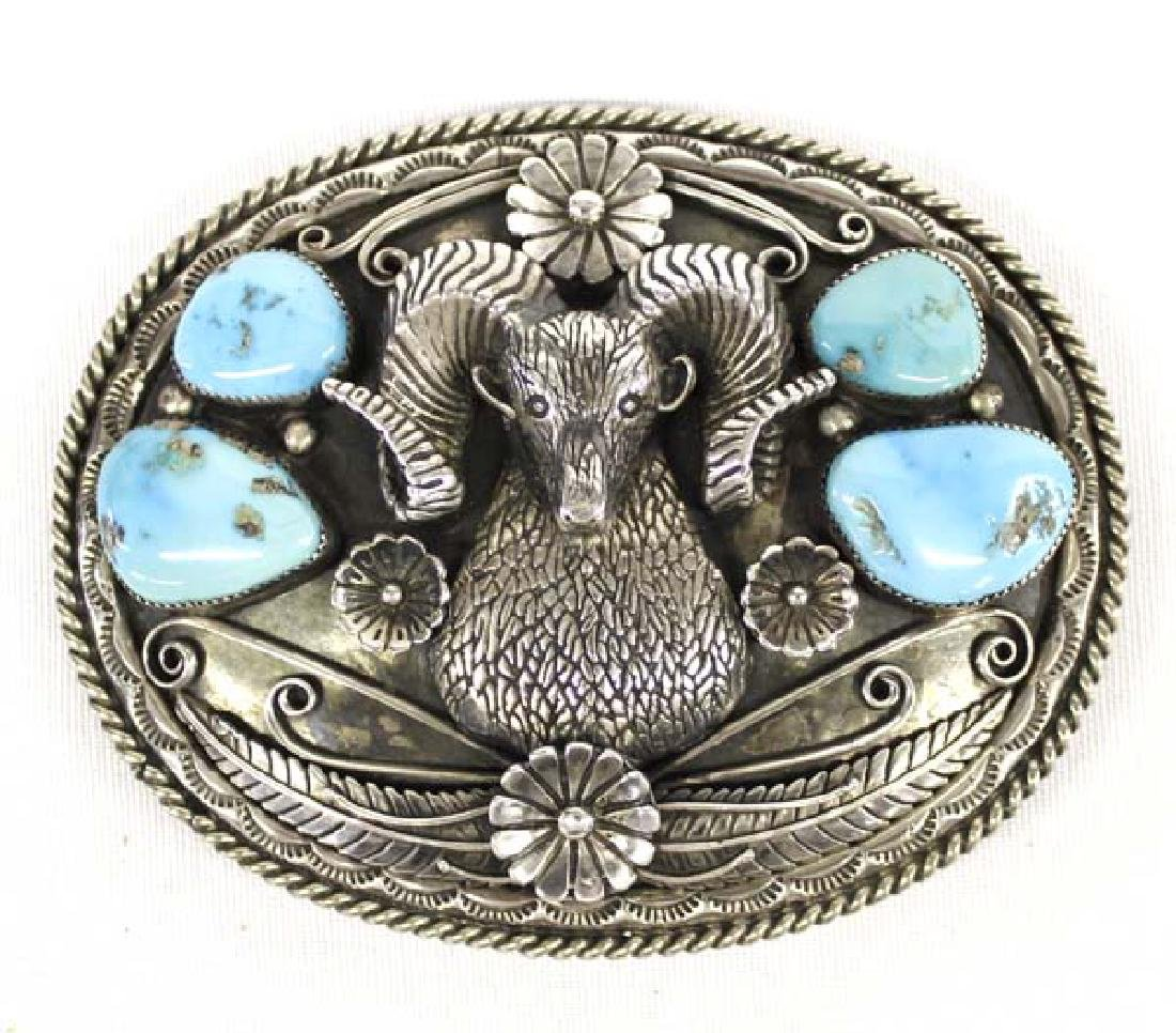 Navajo Sterling Silver Turquoise Buckle by Willeto