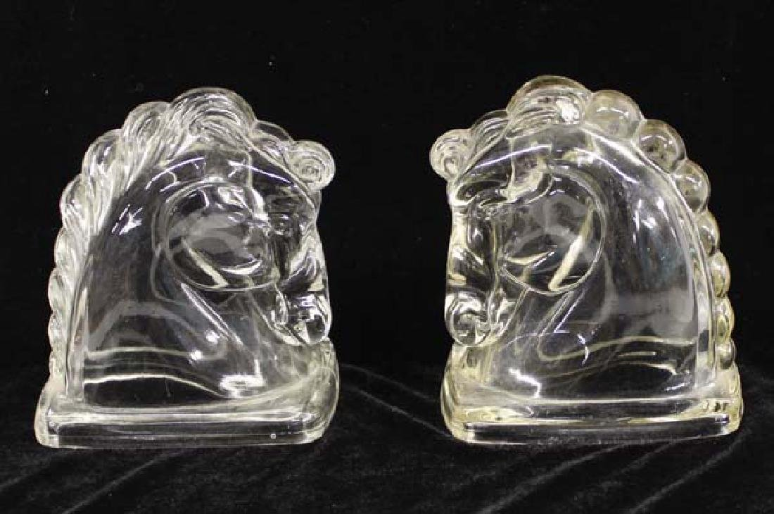 Pair of Heisey Glass Horse Head Candy Containers