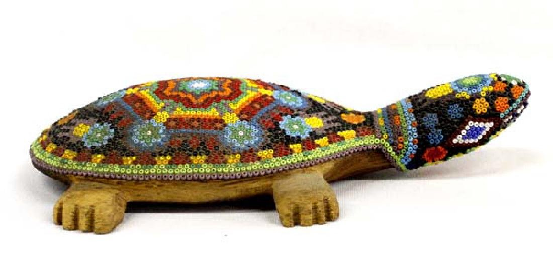 Mexican Huichol Indian Beaded Turtle