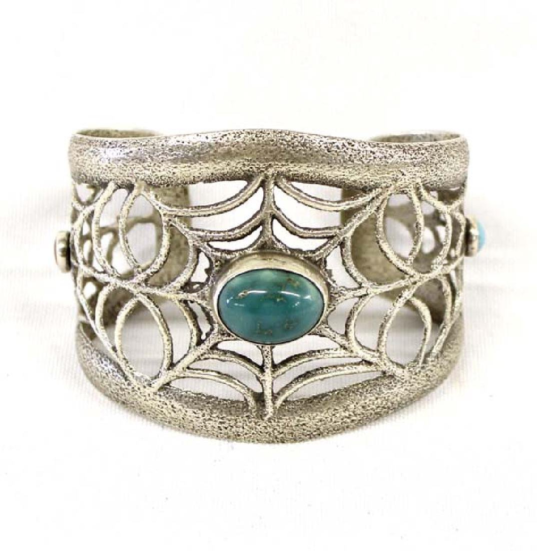 Santo Domingo Silver Turquoise Bracelet, Pajarito