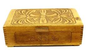Estate Vintage 1930 Carved Wood Jewelry Box